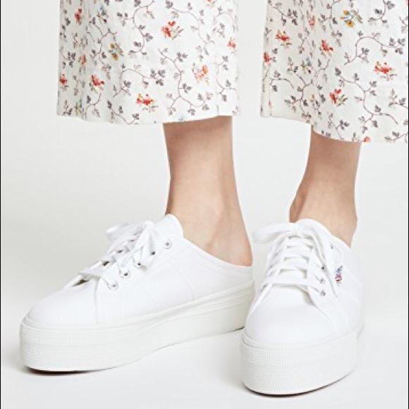 59b69d6c71e2 NWB  SUPERGA  White Platform Lace-Up Mule Sneakers